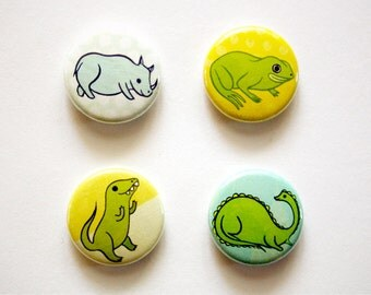 ANIMALS button and pins set pinback button badge set (rhinoceros, dinosaurs, frog) by boygirlparty - animal pins for backpacks