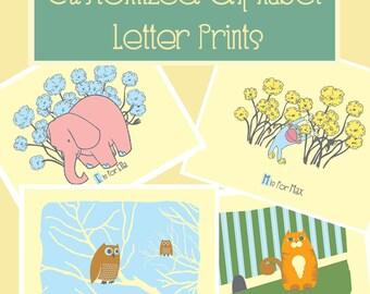 Custom Alphabet Letters Print - New Baby Nursery Art Print - Personalized Alphabet Print Giclee - Customized Name Art Print -  Kids Wall Art