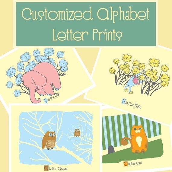 Custom alphabet letters print new baby nursery art print for Baby nursery letters
