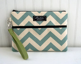 Kindle / iPad Mini / Nook / eReader / Padded Pouch / Bag / Wristlet- Blue Chevron
