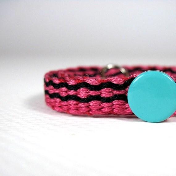 Loom Woven Boys Bracelet, Pink and Black Bracelet, Large Bracelet, NO BARS