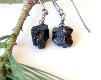 Lump of Coal Earrings - Raw Black Tourmaline Earrings - FREE GIFT WRAP