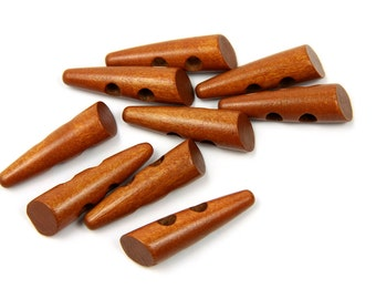 10 Brown Horn Shaped Toggle Wood Buttons -  50mm 2 inches - 2 holes - 10 pcs