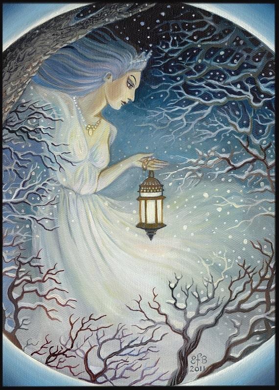 Summer Goddess Original >> Winter Goddess ACEO Winter Solstice Yule Pagan by EmilyBalivet