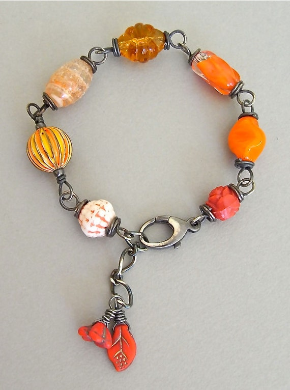 RESERVED for D. Bracelet - sterling silver, wire wrapped, vintage glass, lucite - Carnivale