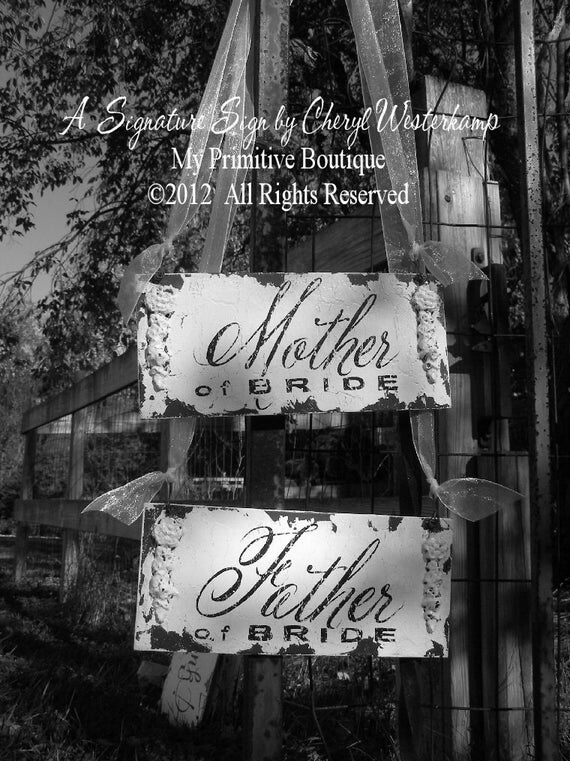Mother of the Bride. Father of The Bride. Wedding Chair Sign. Wedding Sign. Rustic Wedding. Wedding Decor. Photo Props. Wedding Reception.