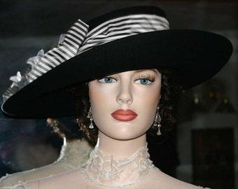 Ascot Hat Kentucky Derby Hat Wide Brim Tea Hat Titanic Hat Somewhere in Time Hat Downton Abbey Hat Edwardian Hat Black & White - Lady Olivia