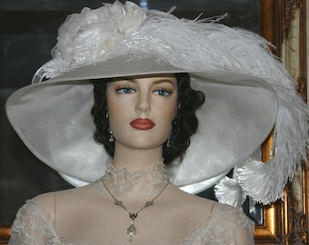 Ascot Hat Kentucky Derby Hat Wide Brim Tea Hat Titanic Hat Somewhere in Time Hat Downton Abbey Hat Edwardian - Run for the Roses