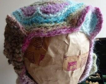 Handspun hat, freeform crochet, wearable art