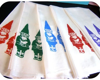 Gnomes Tea Towel Blue Kitchen Towels CUTE screenprint retro kitchen Indie Housewares wholesale gnome tea towels