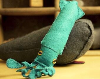 Squid Toy Felt Stuffed Plush Featured in February 2015 STUFFED Magazine Kraken Kids Stuffed Animal Deep Sea Jules Verne