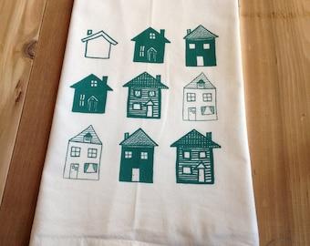 Houses Kitchen Towel, Tea Towel, Flour Sack Towel- Single