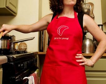 P is for Pierogi Red Bib Apron