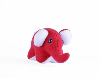 Red and White Elephant Plush Toy - Stuffed Animal - Handmade