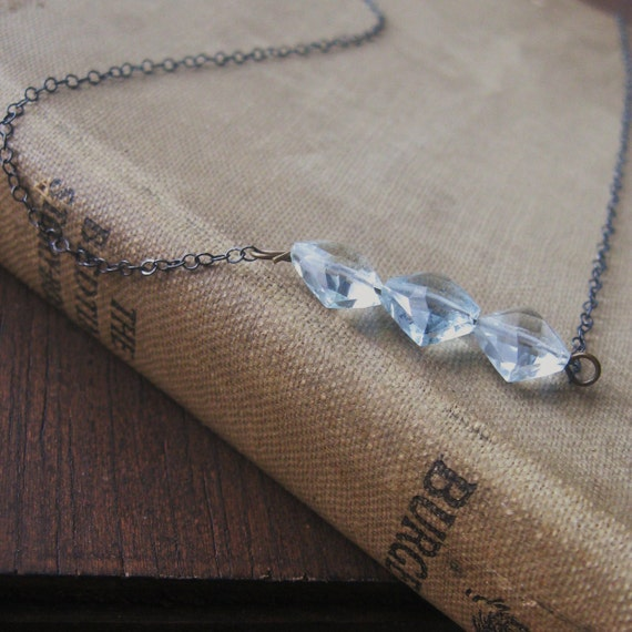 reduced - aqua marine light blue gemstone necklace on sterlin silver chain small dainty diamond gem faceted
