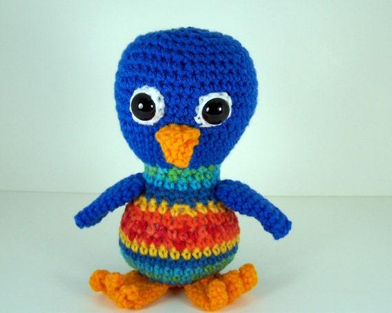Crochet Amigurumi Stuffed Blue Bird Plush  -  Silly Blue Bird