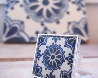 Statement ring, Mexican jewelry. Mexican Talavera Tile Design, folk art, ethnic  jewelry, Dark blue indigo, adjustable, Southwestern Jewelry