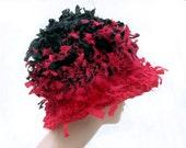 Crochet hat, cloche hat, womens hat, rag hat, hat for women, red hat, crazy hat, flapper hat,  cool hat, wild hat, weird hat, funky hat