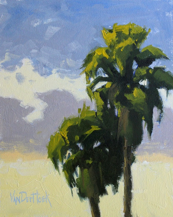 California Sunset - A Study - Original Oil Painting of Palm Trees at Sunset - California Beach Painting