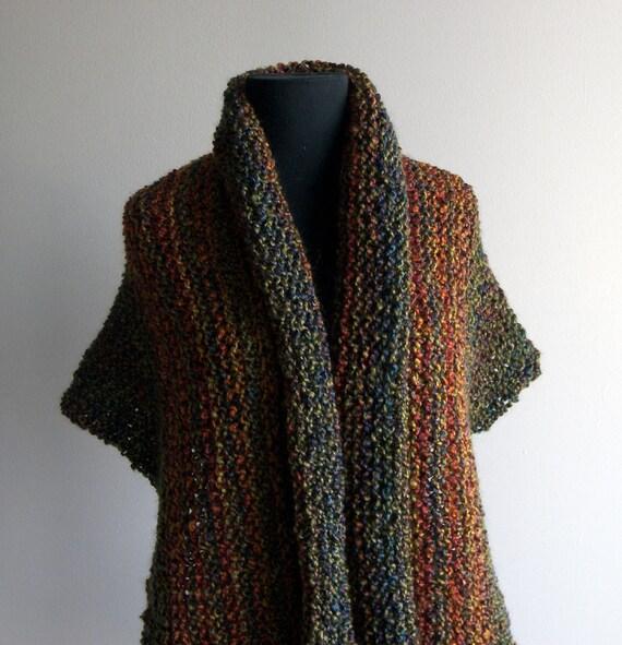 Custom Hand Knit Deep Autumn Prayer Meditation Comfort Sm Shawl Scarf Cowl, Wrap, Olive, Rust, Gold, Vegan, Bed Jacket, FREE SHIPPING