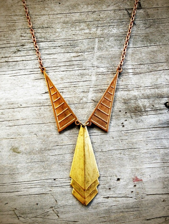 Collar and Tie Metal Necklace, Menswear Necklace, Necktie Necklace, Suit Necklace, Copper and Brass Vintage Findings