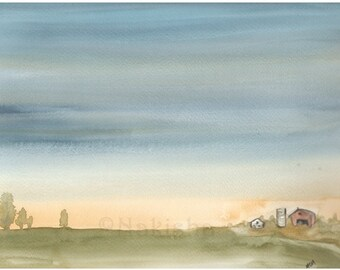 Tiny Farm - Original watercolor landscape painting