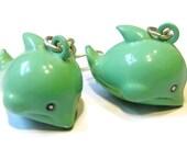 Sale Save 10% Green Dolphin Brass Bell Earrings Jewellery Kawaii Earrings