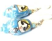 Sale Save 10% Porcelain Matryoshka Earrings -- Blue Nesting Doll Earrings Kawaii Earrings