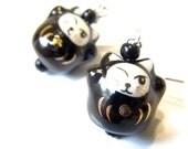Sale Save 10% Black Cat Earrings -- Beckoning Cat / Lucky Cat Jewellery  Kawaii Earrings