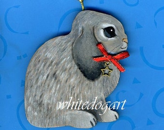 Handpainted Lop Eared Rabbit Christmas Ornament