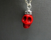 """Queen Red Skull Necklace // Red Howlite Skull // Silver Rhinestone Paved Rondell // 17"""" Silver Chain // Halloween // Gift under 25"""