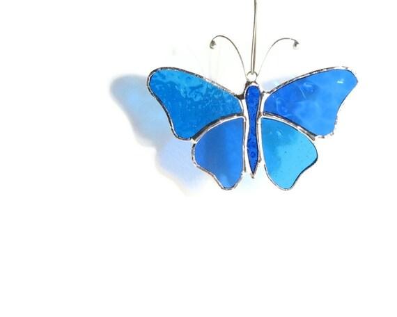 Blue Butterfly Stained Glass Suncatcher