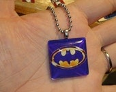 Handmade Purple Gold Batman Logo Jewelry Glass Pendant Charm Necklace Christmas Gift