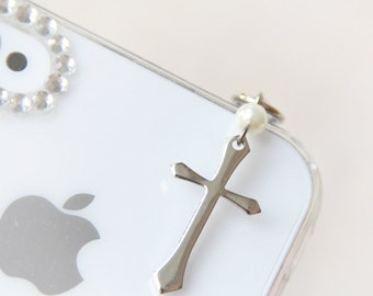 FREE Shipping-Cross iPhone Earphone Plug. Cell Phone Charm. iPhone4, iPhone5, iPad, Samsung, iPhone Accessories. Baptism Gift. Free Shipping