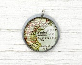Venice Italy - Vintage Map Pendant in Handmade Sterling Setting