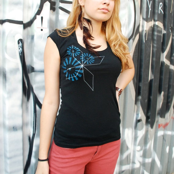 XL Only - Sale - Womens silkscreen tshirt, black shirt with geometric design, cap sleeve shirt, womans top