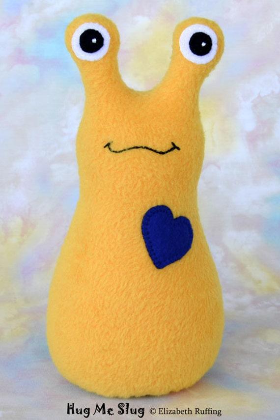 Handmade Slug, Stuffed Animal Plush Doll Art Toy, Hug Me Slug, Personalized Tag, Gold, Dark Royal Blue Fleece, 9 inch, Ready-made