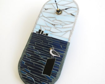 Artisan Wall Clock, Seagull in the Bay, Stained Glass Mosaic Art Clock, Tropical Beach Clock, Small Clock, Nautical Clock, Housewarming Gift