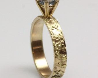 blue sapphire, 14k gold engagement ring