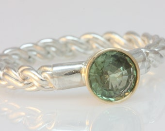 green sapphire in 14k gold and sterling silver