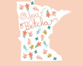 Digital Art Print Poster - I LOVE MINNESOTA - dazeychic, art print with quote, kitchen art, minnesota, quote art, floral print, studio mela