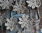 Crochet Garland - Wall Hanging - Small Doily Bunting -- Snowflake garland -- 10 motifs --- natural linen
