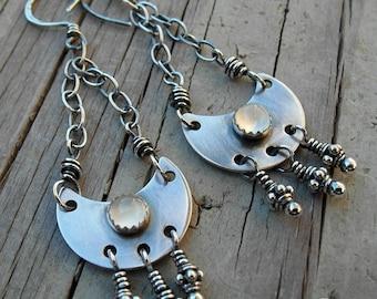 Crescent Moon Earrings New Moon Moonstone Gemstone