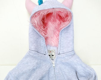 Toddler Monster Hoodie - 2T - Gray with Pink - monster hoodie, horned sweatshirt, custom jacket