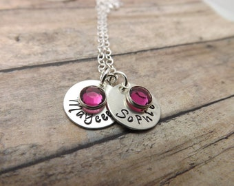 Mommy necklace-Handstamped-personalized-sterling silver necklace- name necklace-two discs-with birthstones