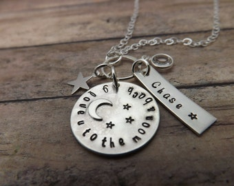 I love you to the moon and back-necklace-handstamped-personalized necklace