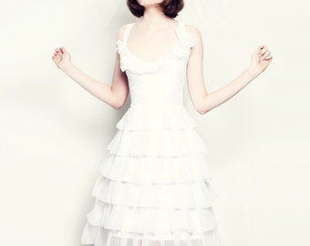 Snow White Silk Chiffon Pearl Modern Wedding Dress Custom Made to Order