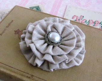 Muslin Flower Hair Clip.Brooch.Pin.Headpiece.Bridesmaid.wedding.rustic wedding.muslin flower.Tan.Oatmeal.Muslin Flower Headpiece.Muslin