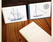 Nautical letterpress card bundle