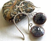 Copper Enamel Earrings, GREY and BLACK - Small Round Discs on Handmade Sterling Silver Wires